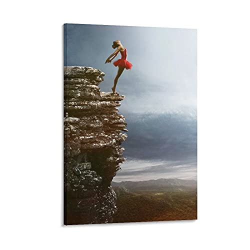 Art Poster Ballet Girl on The Rock Canvas Painting Wall Art Picture Living Room Bedroom Study Home Decoration Without Frame24x36inch(60x90cm)