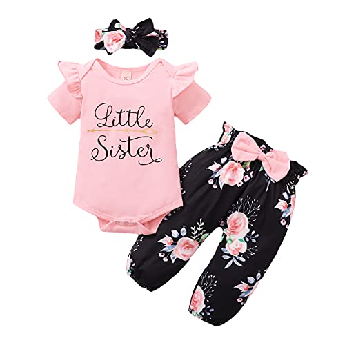 WeoTca Conjunto de ropa de bebé para niña grande, hermanas, juego de ropa a juego con flores, camiseta de verano y pantalones para la cabeza, 3 unidades