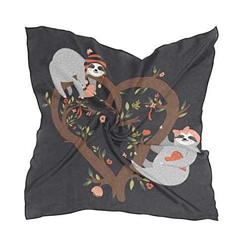 Alarge - Bufanda cuadrada de seda, romántico, árbol de San Valentín, protector solar, ligero, suave, pañuelo para mujeres y niñas
