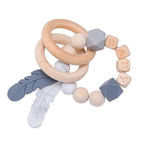 Biter teether Baby Teething Rattle Bracelet Silicone Feather Teether Nursing Pendants Wooden Beads with Letter Gray