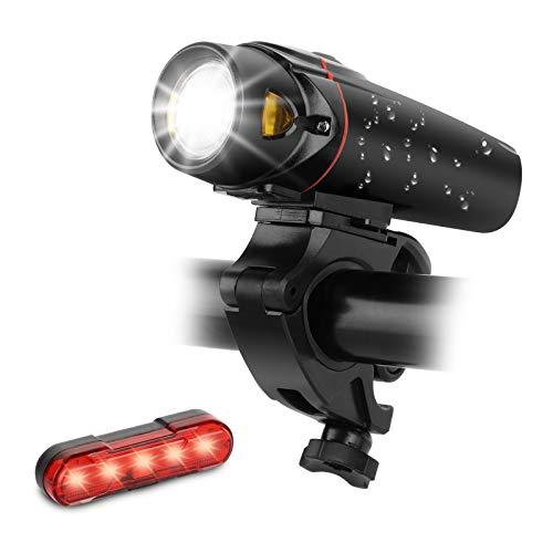 LED Fahrradlicht Set, Sendowtek USB Wiederaufladbare Frontlicht und Rücklicht, 350 Lux 3 Leuchtstärke, Smart Sensor und 3 Leuchtmodi Fahrrad Licht, IPX5 Wasserdicht (2200 mAh)