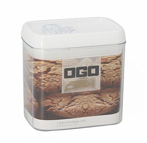 OGO LIVING - Boîte Hermétique Carrée avec Couvercle en plastique blanc Transparent, 1.4 L