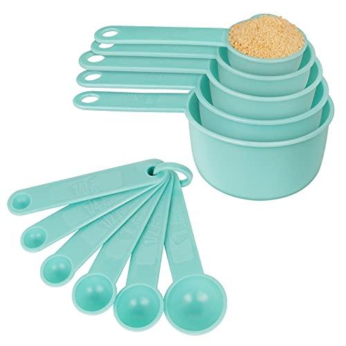 Messlöffel Set, 11er Set Wiederverwendbare Kunststoff Messbecher und Messlöffel, 5 Measuring Cups + 6 Messlöffel zum Messen von Trockenen und Flüssigen Zutaten (Grün)