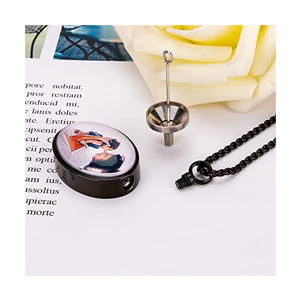 Fanery Sue Personalized Photo Cremation Urn Necklace for Ashes Custom Engraving Pendant Memorial Keepsake Jewelry with Filling Tool(Oval-Black)