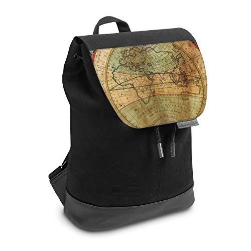 Rucksack mit Lasche 30 cm x 20 cm Daypack für Damen & Herren Tasche mit Design Weltkarte Landkarte Kompass