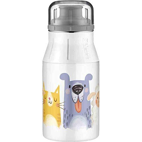 alfi Kindertrinkflasche elementBottle 400ml Tiere weiß, Edelstahlflasche auslaufsicher, dicht bei Kohlensäure, 5357.201.040 BPA Frei, Flasche für Kinder, Trinkflasche für Kindergarten, Apfelschorle