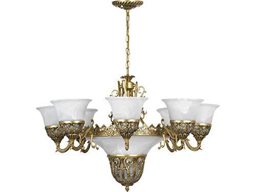 Kronleuchter Shabby Chic / messing, weiß / 11-flammig / E27 / Jugendstil Kronleuchter / Deckenlampe Wohnzimmer Jugend Stil / stilvolle Esszimmer Beleuchtung / Schlafzimmer Lampe
