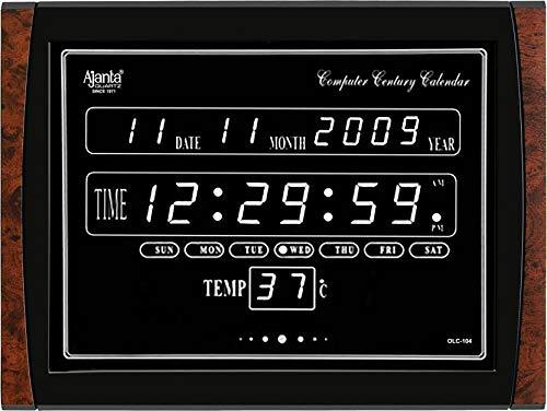 Ajanta Quartz Plastic OLC-104 White LED Digital Clock (Standard Size, Black)