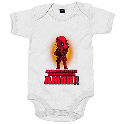 Body bebé parodia de Deadpool algunos malotes también necesitan amor - Blanco, 6-12 meses