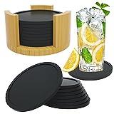 Silikon Untersetzer Gläser, 8er Set Silikon Untersetzer Rund für Gläser mit Aufbewahrungsbox, Rutschfester Untersetzer Gläser für Getränke Tassen Bar Glas Tischuntersetzer Silikonuntersetzer