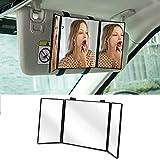 "Car Visor Mirror,Huicocy Makeup Travel Vanity Mirror Car Cosmetic Mirror Clip On Sun Visor Auto Supplies 310mm 12"" Universal for Car Truck SUV Rear View Mirror (12in5.5in, black)"