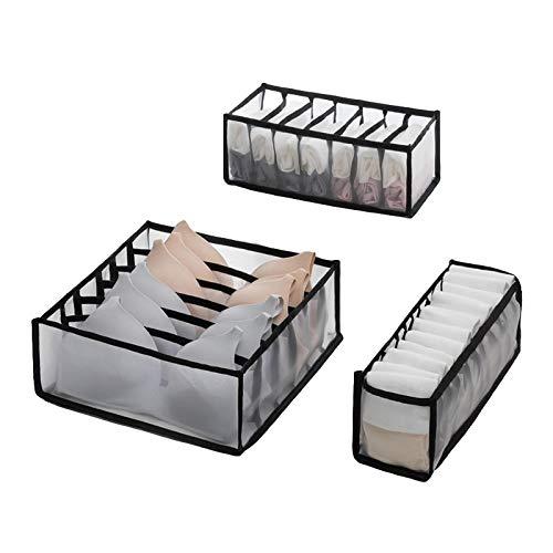 Caja de almacenamiento de ropa interior, rejilla separada bolsa de almacenamiento caja de ropa interior organizador de calcetines divisores de cajones organizador de ropa A-1(3 piezas)