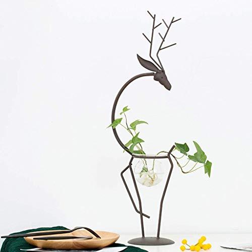 Prachtig Smeedijzer glazen vaas vaas for Duurzaam Wonen In de woonkamer, keuken, kantoor, bruiloft of als gift (Size : 10×50cm)