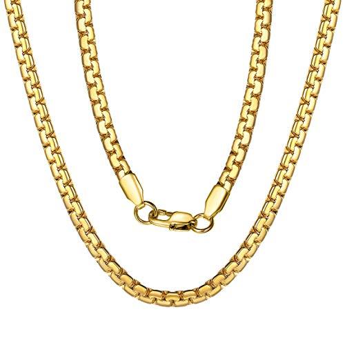 ChainsPro Catena Rolo Catena placcata Oro 18 carati Piccola Catena in Oro per Uomo Fancy Dress Catena d'oro Groomsmen Collana di Gioielli 46,51,56,61,66,71,76cm