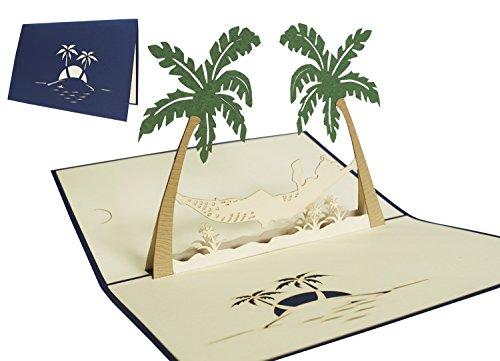LIN17253, POP UP Karte, 3D Grußkarten, Glückwunsch Reise Urlaub Ruhestand Gute Besserung Palmen Hängematte, N121