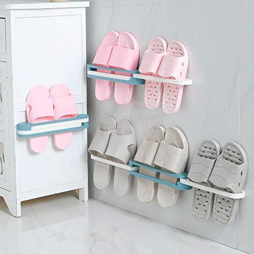 Hook.s 3PCS Faltbare Pantoffel-Zahnstange, Schuh-Zahnstange, Wand-hängendes freies lochendes Abfluss-Speicher-Regal für Badezimmer
