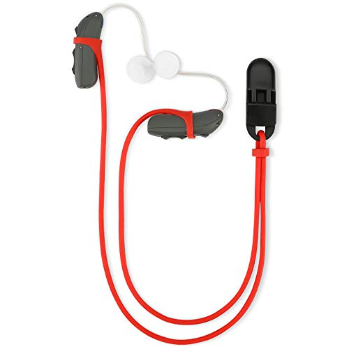 Vivtone Hearing Aid Clips Lanyard Bands Adaptors, BTE Hearing Aids Binaural Safter Protector for Adults Seniors and Kids, Clothes Collar Grip, Suitable for Various Hearing Devices (Red)