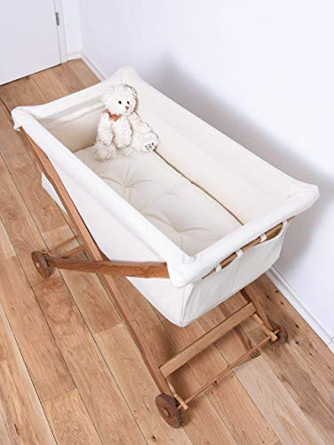 Koota baby Bassinet Entirely of Oak Wood and Pure Wool fabric/Wool Stuffed Mattress Included