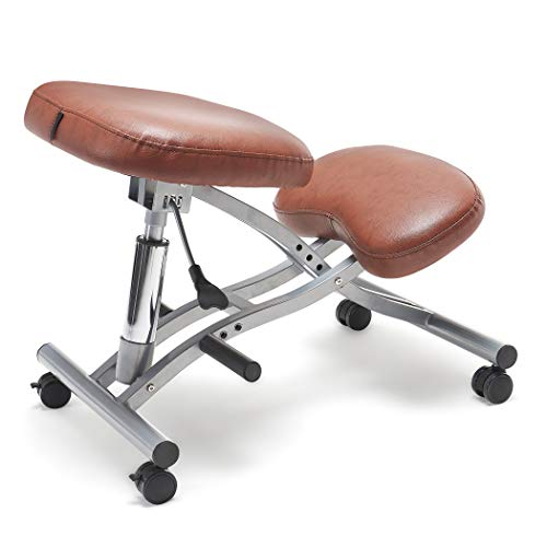 FringeKitt Upright Kneeling Chair, Moderate Hip Angle, Footrests, Lighter Pressure on Shins, Pneumatic, Tilting Knee Pad, Ergonomic, Adjustable Height, Posture Correction, Back Pain Relief