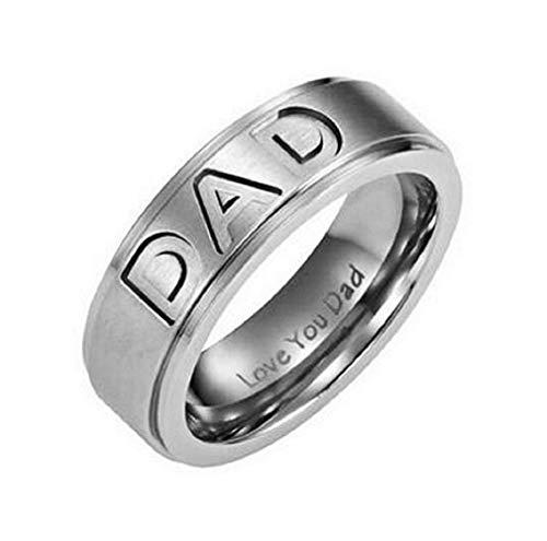 Legisdream Anillo papá Anillo de Bodas te Amo papá Plata Hombre Medida - Talla es 13 - Love You Dad