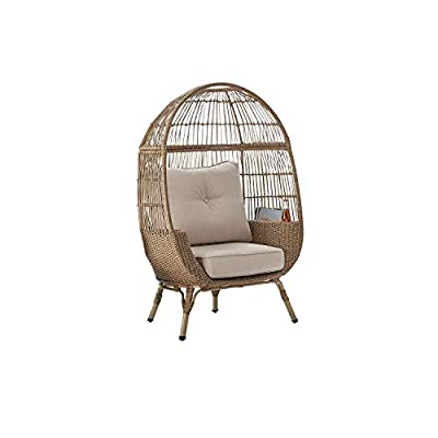 Outdoor Patio All-Weather Wicker Stationary Egg Chair w/Storage & Sunbrella Cushions (Blonde)