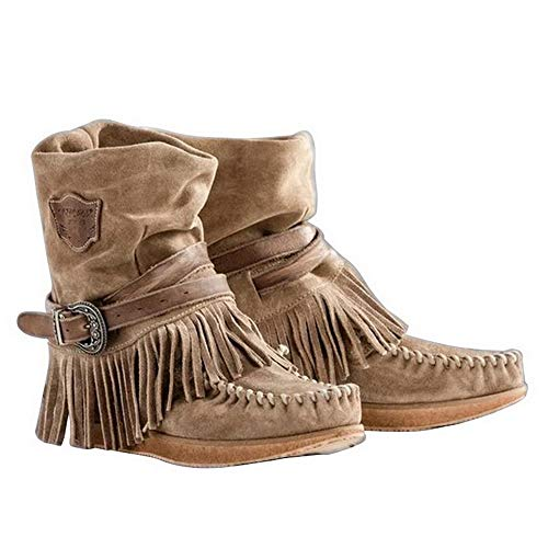 Vertvie Damen Stiefel Stiefeletten Fransen Schuhe Ankel Kurzschaft Herbst Winter Freizeit Casual Winterschuhe Slip On Kurzstiefel(Brown, EU 41)
