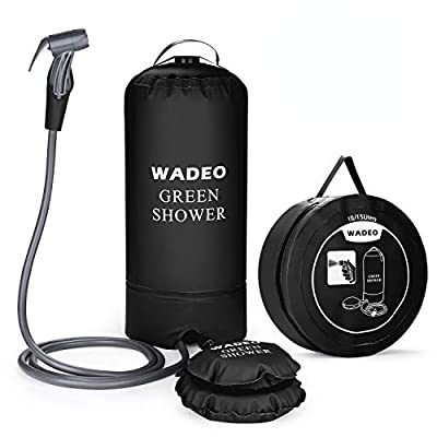 WADEO Camp Shower, 15L 4 Gallons Portable Outdoor Camping Shower Bag Pressure Shower with Foot Pump and Shower Nozzle for Beach Swim Travel Hiking Backpacking, Black