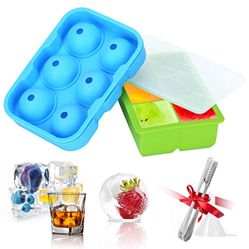 Silicone Ice Cube Trays Mold with Lid, Ice Ball Press Maker Mould (Set of 2), Round Ice Cube Molds Little Funnel, Ice Cube Maker Tray for Freezer Spill-Resistant, Food Grade Materials, Blue/Green