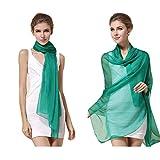高品質シルクスカーフ、単色の絹のスカーフ、100% シルク、半透明の長いスカーフ、長方形の180cm x 110cm、真丝围巾 (グリーン)