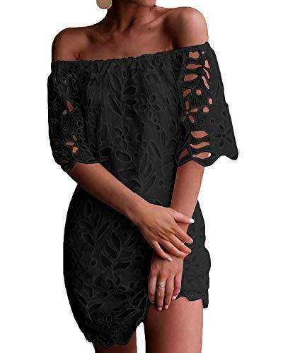 YOINS Sommerkleid Damen Kurz Sexy Kleider Schulterfrei Lange Ärmel Lace Minikleider Elegant Einfarbig Strandkleid