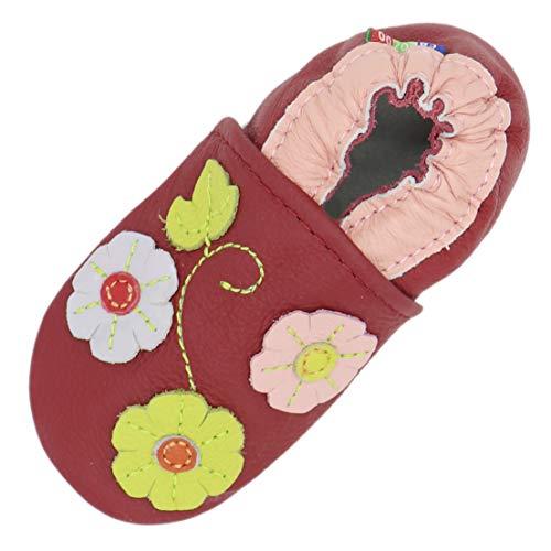 Carozoo Weiche Sohle Leder Baby Kinder Hallenschuhe Prewalker (16 Designs), Rot - 3 Blütenblätter dunkelrot - Größe: 4-5 Jahre