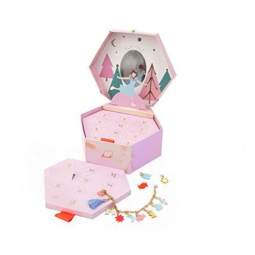 Meri Meri Adventskalender Schmuckbox für Mädchen mit Armand und 23 niedlichen Anhängern. Bettelarmband Charm