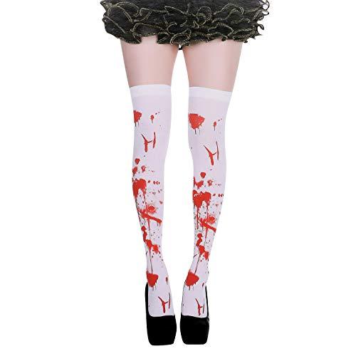 IBLUELOVER Halloween-Strümpfe, für Damen, Mädchen, hohe Socken mit Blut und Totenkopf, bedruckt, Socken, lang, Kostüm, Cosplay, Krankenschwester-Kostüm, Party, Masade