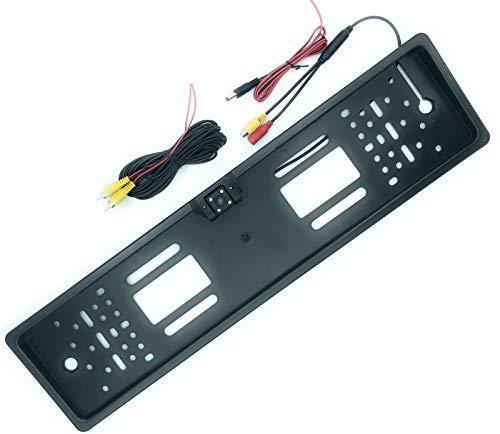Kit Porta Targa Con Telecamera A 4 Led Flash Per Retromarcia Telaio Europeo