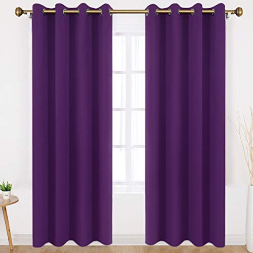 HOMEIDEAS Blackout Curtains 52 X 84 Inch Long Set of 2 Panels Purple Room Darkening Bedroom Curtains/Drapes, Thermal Grommet Light Bolcking Window Curtains for Living Room