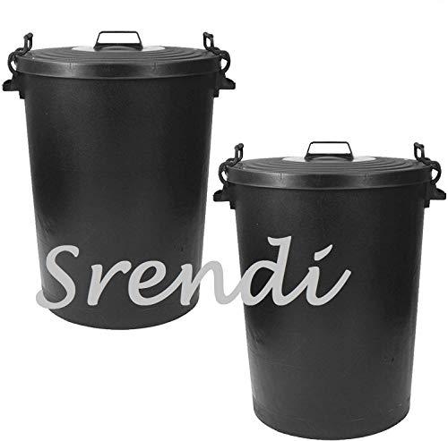 Srendi 2 x 110Litre Black Plastic Bin Heavy Duty Refuse Bin With Lockable Lid Ideal for Outdoor/Rubbish/Waste/Dustbin/Animal Feed