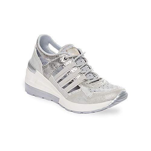 Zapatilla Sneaker Yumas Katia Plata Fabricado en Nylon Perforado y Microfibra Transpirable Plantilla Confort Látex para Mujer