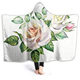 Winter Hooded Throw Blanket for Adult, Watercolor Bouquet Fuzzy Blanket Thick Washable Blanket for Sofa Watching Tv, Ptonuic