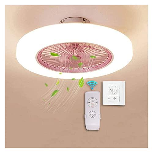 XYSQ Ventilador De Techo con Luz Y Control Remoto, Invisible Ventilador De Techo Luz, Regulable Luz Fría/Neutra/Cálida Luces Regulable (Color : Pink)