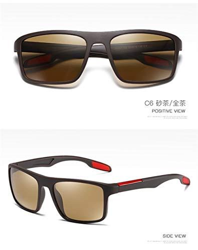 PPLAX Gafas de Sol del Conductor Ultraligero polarizada Hombres Conductor Vintage Shades Masculino for los Hombres spuare Gafas (Color : C6)