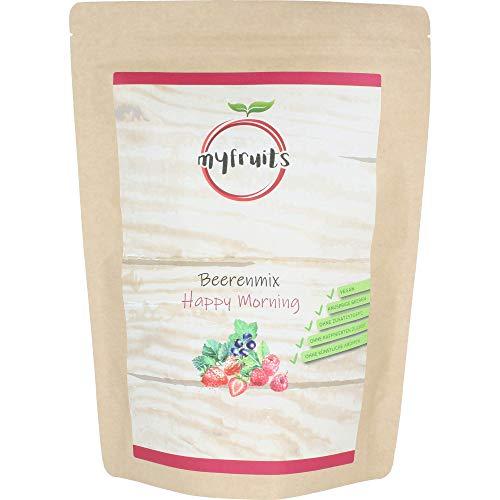myfruits® Beerenmix - Happy Morning - Mischung aus gefriergetrockneten Früchten - ohne Zuckerzusatz - Erdbeerscheiben, Himbeeren, schwarze Johannisbeeren (300g)