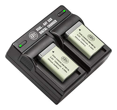 BM 2-Pack of NB-13L Batteries and Dual Battery Charger for Canon PowerShot SX740 HS, G1 X Mark III, G5 X, G5 X Mark II, G7 X, G7 X Mark II, G7 X Mark III, G9 X, G9 X Mark II, SX620 HS, SX720 HS Camera -  BM Premium, BM-NB13LK4-DC