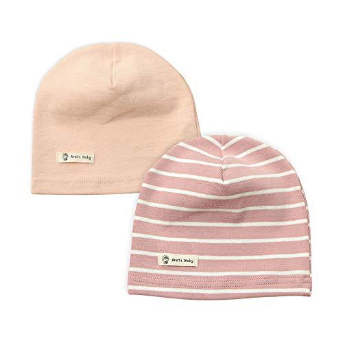 LACOFIA Baby Mädchen Beanie Mütze Kinder Weiche Baumwolle Strickmützen Kleinkind Gestreift Hut 2 Stücke Rosa M/7-24 Monate