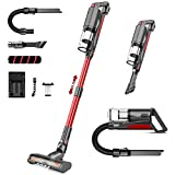 Cordless Vacuum Cleaner,whall 22000pa 5 in 1 Cordless Stick Vacuum Cleaner,250W Brushless Motor,up to 53 Mins Runtime,Lightweight Handheld Vacuum for Home Hard Floor Carpet Pet Hair,Red & Gray