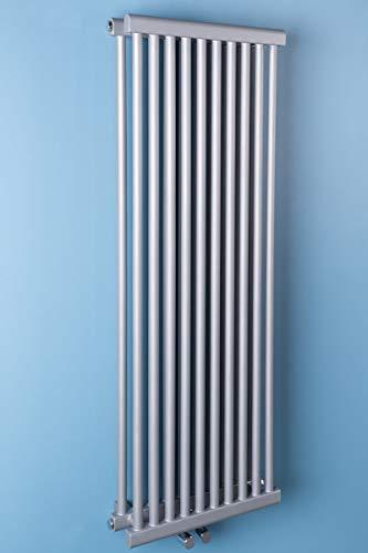 Wärmehaus Designheizkörper Designer Heizung Vertikal 1200x410x120mm Silber