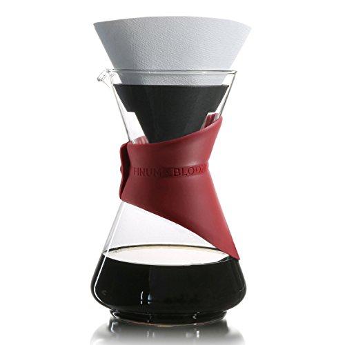 Finum BLOOM AND FLOW - Kaffeebrüher mit Glaskaraffe, Kaffeebereiter, Handbrüh Kaffee, Kaffeezubereiter, Filterkaffee, Pour Over, Kaffeeaufbereiter aus Glas mit Filter, Kaffeekessel, BPA-frei - Rot