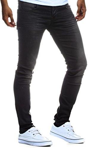Leif Nelson Herren Jeans Hose Slim Fit Denim Blaue graue Lange Jeanshose für Männer Coole Jungen weiße Stretch Freizeithose Schwarze Cargo Chino Sommer Winter Basic LN301SC Schwarz W33/L30