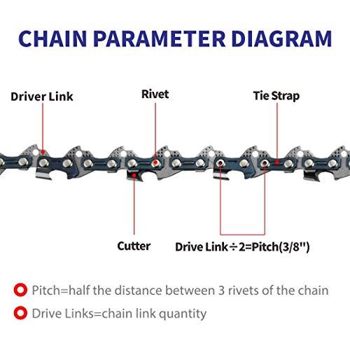 Abroman 3 Pack S56 AdvanceCut 16 Inch Chainsaw Chain 3/8 LP .050