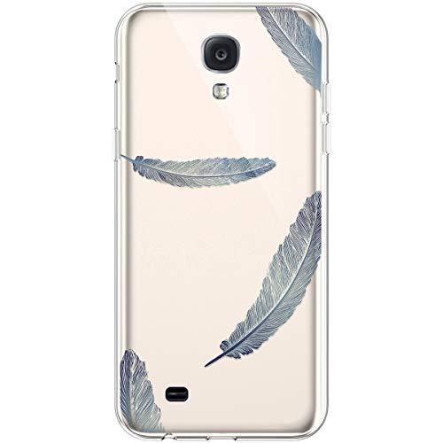 Hpory Funda para Samsung Galaxy S4, Ultra Fina Suave TPU Silicona Transparente Crystal Flexible Trasera Bumper Protección Funda Case Cover Cáscara Carcasa para Samsung Galaxy S4 - Plumas Azul
