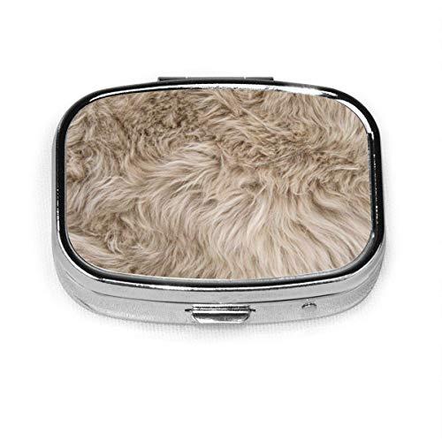 Piel de oveja natural de piel de oveja personalizada moda cuadrada de plata píldora caja medicina tableta titular cartera organizador para bolsillo o monedero